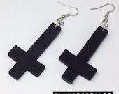 Black Cross Earrings - Inverted