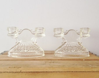 Glass Candle Holder - Depression Glass - Pressed Glass Candleholder