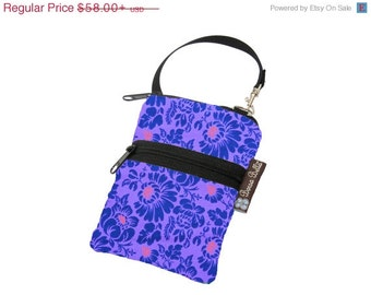 ON SALE Cell Phone Case Small Crossbody Bag iPhone Shoulder Bag Cross Body Purse - Short Zip Cell Phone Bag - Extra Zipper Pocket - Purple P