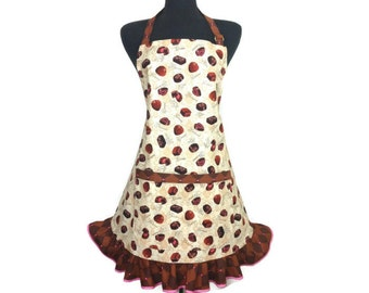 Candy Shop Apron, Chocolate Truffles, Adujustable with pocket and retro style ruffle,  Candy Makers Kitchen