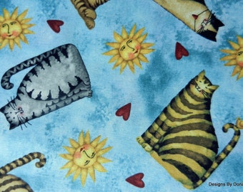 "One Half Yard Cut Quilt Fabric, Cats, Sun, Red Hearts on Aqua , ""Home Sweet Home"" by Debi Hron for SPX, Sewing-Quilting-Craft Supplies"