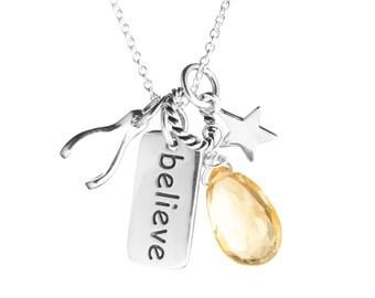 SALE! Sterling Charm Necklace - Believe, Star, Wishbone, Gemstone Dangle - Pick Your Stone