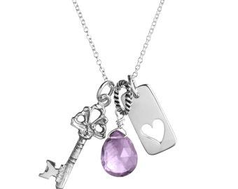 Sterling Silver Charm Necklace - Key, Heart Keyhole, Gemstone Dangle