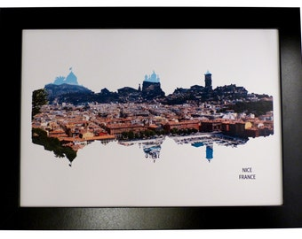 Nice, France Skyline Print with aerial city photo