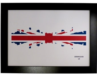 Birmingham UK Skyline Print combined with Union Jack flag
