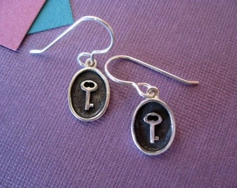 Sterling Silver Dangle Earrings.  Antique Key Charm