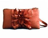 Burnt Orange Ruffle Clutch Wristlet- Bridal Clutch- Autumn Wedding Idea
