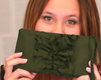 Olive Ruffle Wristlet. Bridesmaids Clutch - Military Wedding Idea