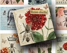 INSTANT DOWNLOAD Combo Pack Three Digital Images Sheet Save The Bees Beekeeping Queen Bee Antique Two 2 Inch Squares for Crafts (GSTWO52)