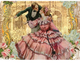 Romantic Couple at Versaille Ball Dance Pink Roses Placemat