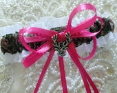 Hot Pink Browning Buck and Doe Heart Garter-Camo-Camoflauge-Hunter-Browning Deer Logo