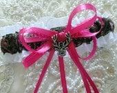 Hot Pink Browning Buck and Doe Heart Garter-Camo-Camoflauge-Hunter-Browning Deer Logo