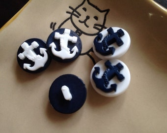 12x BLUE white ANCHOR BUTTONS 19mm - Code 88008