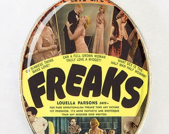Freaks Necklace LARGE 40X30mm Glass domed pendant circus sideshow freak performer obscure