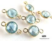 6 pcs 7mm Lite Blue Topaz Gemstone Gold Bezel Connector Pendants F391