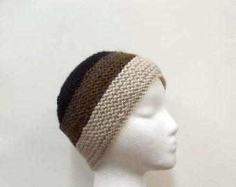 Knit Hat -Beanie- Skullcap -Handmade beanie -brown black  warm comfortable    5005