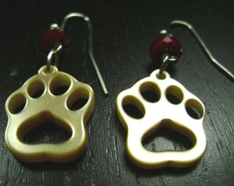 Paw Print Dangle Earrings in Crimson Red and Gold