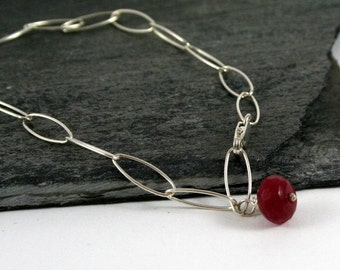 Red Ruby Gemstone Sterling Silver Chain Bracelet Gift under 50
