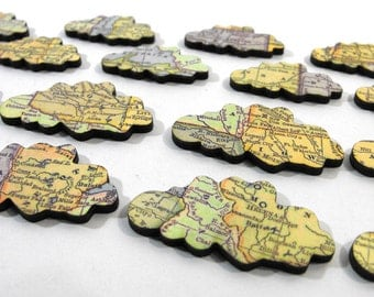 Wooden Clouds with Vintage Map Pattern