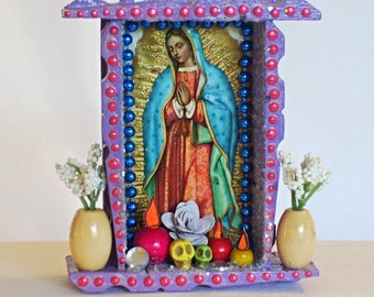 Guadalupe Collage Mexican Assemblage Wooden Nicho Catholic Shrine