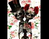 "Print 8x10"" - Couple - Skull Skeleton Roses Flowers Dark Art Horror Macabre Gothic Cute Bones Taxidermy Lowbrow Pop Love Wedding Hat Bones"