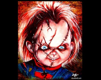 """Print 8x10"""" - Chucky - Childs Play Horror Monster Creature Doll Toy Scary Halloween 80s Vintage Frankenstein Gothic Kill Pop Lowbrow Pop Art"""