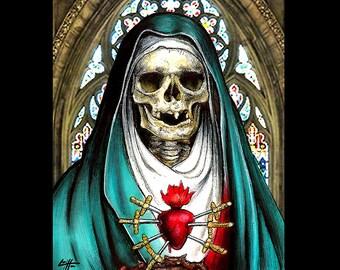 "Print 8x10"" - Our Lady of Sorrows - Sacred Heart Saint Catholic Nun Priest Dark Art Skull Skeleton Horror Lowbrow Art Surrealism Gothic"