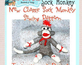 Little Bird Lane Classic Sock Monkey Sewing Pattern PDF Tutorial E-Book