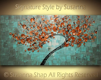 ORIGINAL Large Abstract Copper Tree Painting Impasto Landscape Thick Textured Modern Palette Knife fine art Ready to Hang 48x24 Made2Order