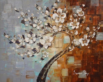 ORIGINAL Tree Painting - Large Textured White Cherry Blossom Tree Abstract Oil Painting Gallery Fine Art by Susanna Ready to Hang 30x24