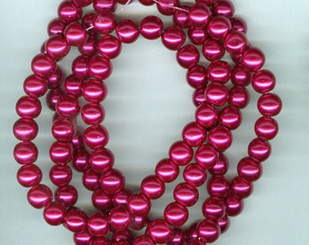 8mm Burgundy Wine Red Pink Glass Pearl Round Spacer Beads 30 inch Bead Spacers