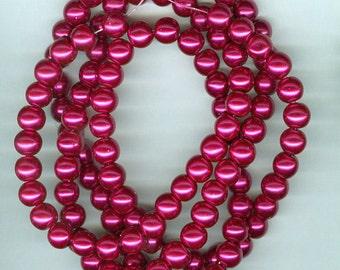 8mm Burgandy Wine Glass Pearl Round Beads