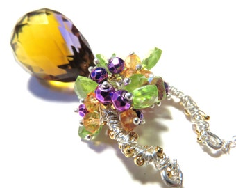 Large Purple Golden Yellow Ametrine Faceted Briolette , Sterling Silver Horseshoe Necklace