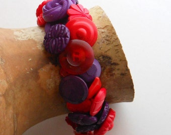 Red and Purple Button Bracelet Snaps On OOAK Gift for Women Cuff