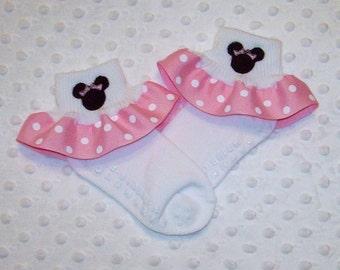 Minnie Mouse Applique Light Pink Polka Dot Ruffle Ribbon Socks