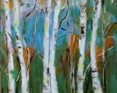 BIRCH TREES - Oil Painting - Original - Honeyscolors - Landscape - White Trees - Cottage Chic - Home Decor - Wall Art - Hanging - 14 x 11