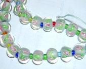 WHITE Lampwork Rondelle beads (6) 11 MM