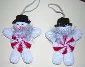 Snowman crochet peppermint candy ornament  Holiday Christmas Winter Decor