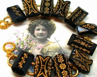 """1800s BUTTON  bracelet, Victorian black glass with flowers. 7.5"""" bracelet. Antique button jewellery."""