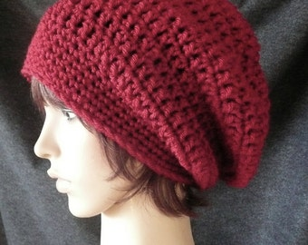 Super Slouchy Beanie in Cranberry Red