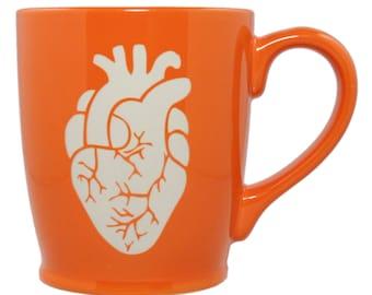 Anatomical Heart Mug - Tangerine Orange - anatomically correct coffee cup