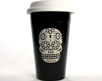 Sugar Skull Travel Mug - BLACK insulated ceramic coffee cup - Day of the Dead
