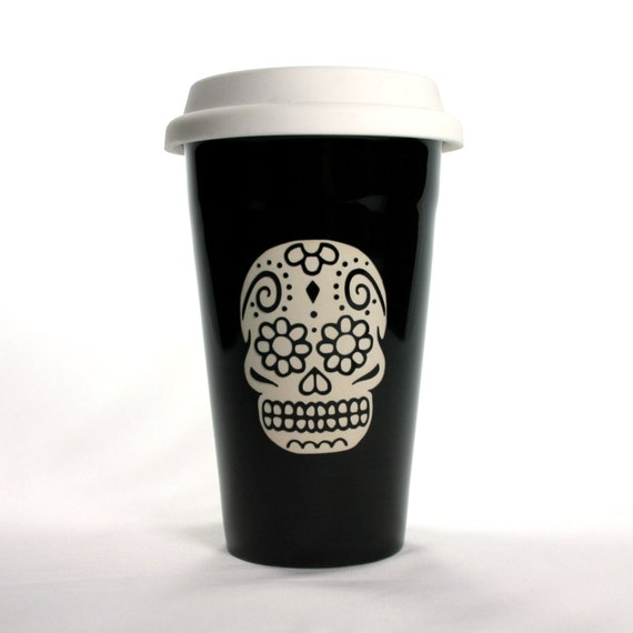 sugar skull travel mug black insulated ceramic by