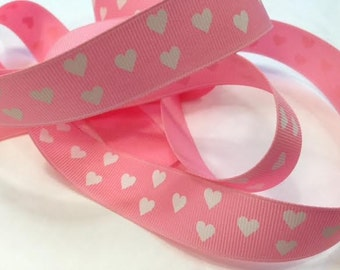 Grosgrain RIBBON - 7/8 Inch x 5 Yards - White Hearts on Pink