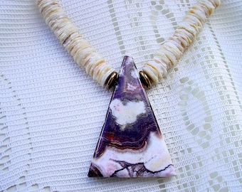 Miriam Haskell Choker Necklace - Zebra Jasper with Shell - Signed