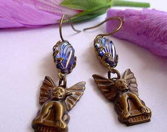 Brass Gargoyle Earrings with Blue Gold Glass Rhinestones