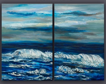 Wave painting --- Original abstract Oil painting --- sea art --- canvas panel Ready to hang --- by tim Lam 48x36