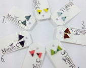 TRIANGLE Post Leather Earrings