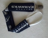 Carlykins Boutique Baby & Toddler Pacifier Holder / Attacher for Girls or Boys SEAHAWKS