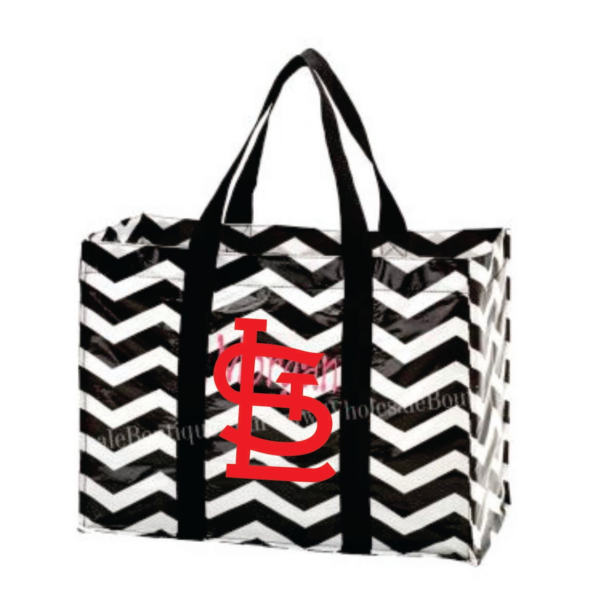 Chevron Tote Bag Black White Monogrammed embroidered by ...